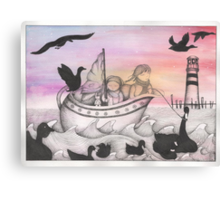 And With The Dawn Came The Inky Black Ducks Canvas Print
