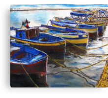 Procida Fishing Boats End of The Day Canvas Print