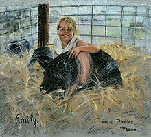 Emily and her 4-H Pig by keepsakeart