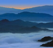 Blue layers of mountain, sunrise at Tilden, Berkeley, California by Soumya Mitra