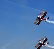 Bi-Plane Wing Walkers looping the sky by iLaw
