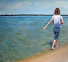 Oil - A Stroll on the Edge 24 x 36 by Luci Feldman