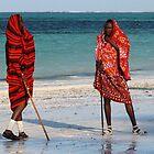 maasai on the beach in zanzibar by Iris Mackenzie