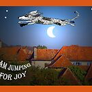 """""""I am jumping for joy"""", dog jumping over the moon by Mary Taylor"""