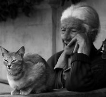 Lady with cat by Ellen van Deelen