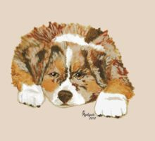 Australian Shepherd Puppy - Red Merle - T-shirt & Sticker by Barbara Applegate