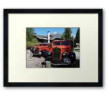 Historic Red Jammers of Glacier National Park Framed Print
