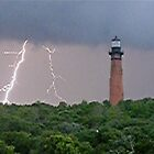 Lighthouse Lightning by NikonJohn