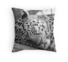 sleepy leopard Throw Pillow