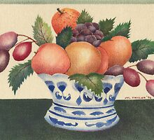 """Fruit in blue and white bowl"". Velvet painting by Mary Taylor"