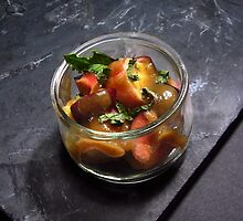 Summery fruit salad with mint and a sesame butterscotch by RecipeTaster