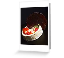 Strawberry and rhubarb jelly salad served with a sweet fondue sauce and a licorice candy disk Greeting Card