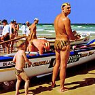 Can I come for a surf boat ride daddy? by Adrian Paul