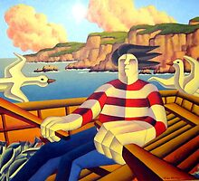 Fisherman at sea with gulls and fish in boat by Alan Kenny