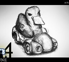 June 24th - A Fowl Driver by 365 Notepads -  School of Faces