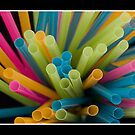 Coloured Drinking Straws by Kevin  Poulton