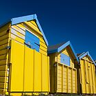 Yellow beach huts on Littlehampton Prom by Kevin  Poulton