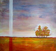 Buzzing Trees, mixed media on canvas by Sandrine Pelissier