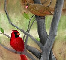 Cardinal Couple by Kassie Kristensen Artwork