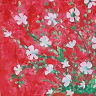 Red and White Floral 1  by Linda Diane Taylor