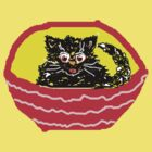 KITTY IN A BASKET BLACK T SHIRT/STICKER by Shoshonan