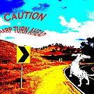 """""""Caution, sharp turn ahead"""", dog on the road. by Mary Taylor"""