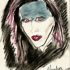 Marilyn Manson Portrait in medium of cosmetics by Esoterikdesigns