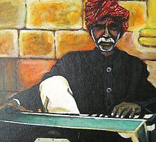 Old Man Playing Harmonium by ramya kapula