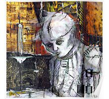 Abstract Gothic doll with stitches - black and white Poster
