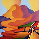 Dreamscape with cottage and two sisters by lake by Alan Kenny
