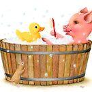 Little Pig's Bliss - Soaking in a Hot Tub by Karen  Hull