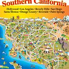 Cartoon Map of Southern California with text by Dave Stephens