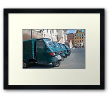 Row of Piaggio 'Ape 50s' Framed Print