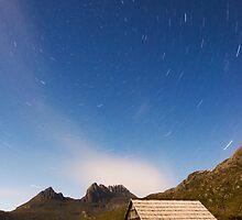 Moonlit Boatshed. Dove Lake, Tasmania by Neville Jones