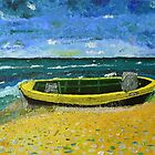 Lonely boat on beach by Peter Pesta