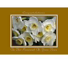 Congratulations On The Renewal Of Your Vows Photographic Print