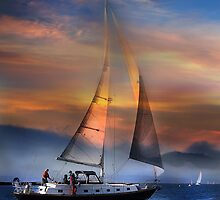 One Sail at Sunset by linaji