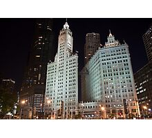 Chicago's Wrigley Building at Night Photographic Print