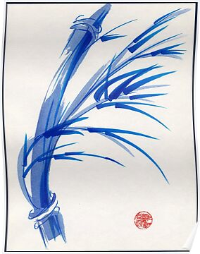 """Wind""  blue sumi-e ink wash painting by Rebecca Rees"