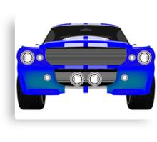 Blue sport car front Canvas Print