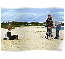 Child Actor Cinematographer Director and Camera on the Beach Poster