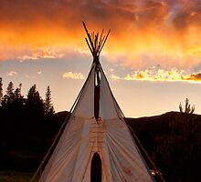 Indian Teepee Sunset Vertical Image by Bo Insogna