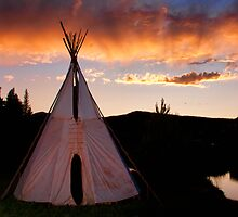 Indian Teepee Sunset   by Bo Insogna