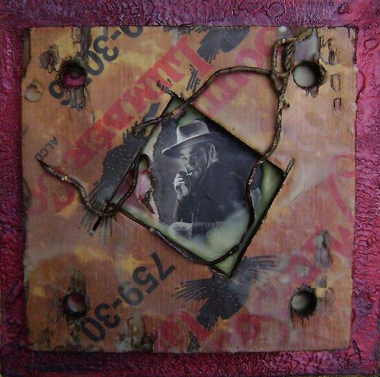 Cagney Encaustic Collage by Karen Jacobi