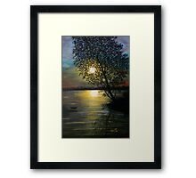 Acrylic Painting of A Sunset   Framed Print