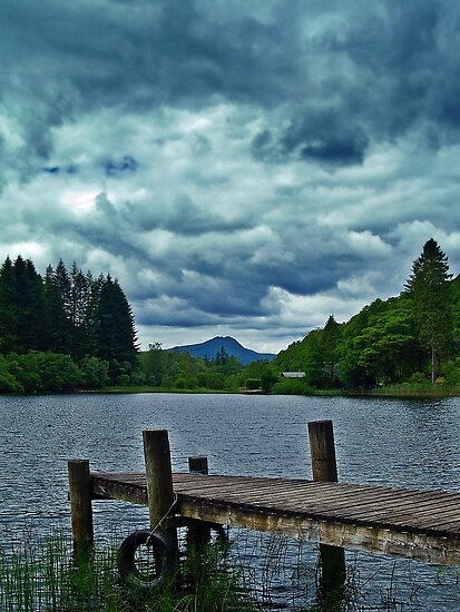 Jetty Over Loch Ard, Scotland. by Aj Finan