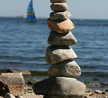 Rocks Stacked at the Beach by vvfineartphotog