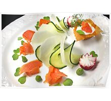 Smoked Trout with Friends Tricolore Poster