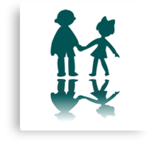 Boy and girl blue silhouettes Canvas Print