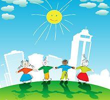 Happy kids by Richard Laschon